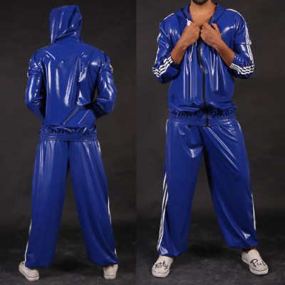 Latex Rubber Auzug Top and Pant Blue Hoodies Suit Sport Catsuit Fixed Size XXL