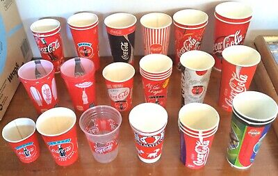 Coca-Cola. Waxed Paper Cups. x24 + Plastic x 7. 18 Different Cups. Unused & Used