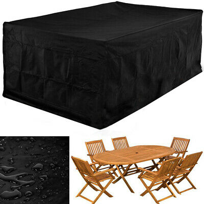 Extra Large Garden Patio Rattan Table Chair Set Cube Furniture Cover Waterproof