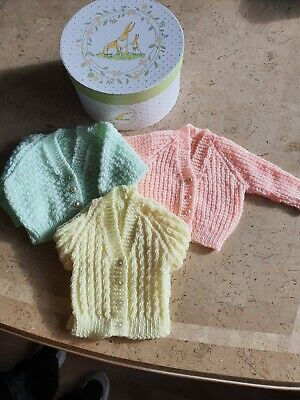 Brand New Baby Gift.  Hand Knitted Cardigans X 3 + Box