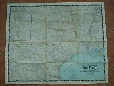 Vintage Original 1947 Map South Central United States National Geographic