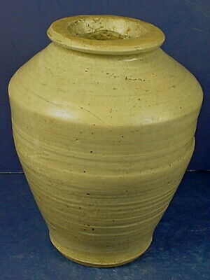Antique Chinese Qing Dynasty Celadon Glazed Stoneware Jar