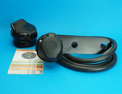 13 Pin Pre-wired Towing Socket & Cover on Bracket for Caravan & Trailer   #8085