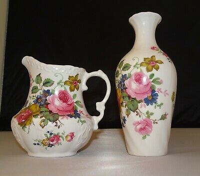 Southfields Fine Bone China Milk Jug & Posy Vase Floral Design Of English Roses