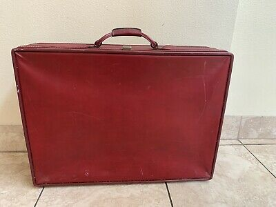 "Vintage Hartmann  26""  Belted Leather Suitcase Luggage CLASSIC BURGUNDY"