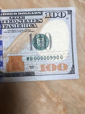 2013 BINARY/ 6 Of A Kind US FRN $100 NOTE LOW SERIAL # MB 00000 990 G NEW YORK