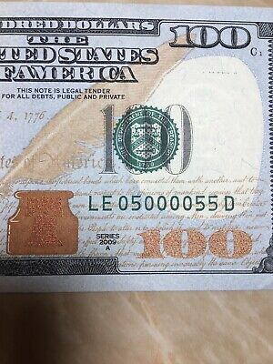 2009A BINARY/ 5 Of A Kind US FRN $100 NOTE LOW SERIAL # LE 05 0000 55 D RICHMOND