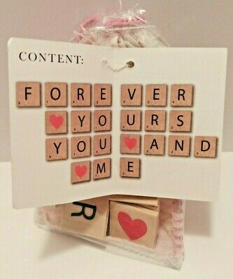 Wooden Letter Tiles  Decorative or Craft Use for Messages of Love 23 Count Pouch