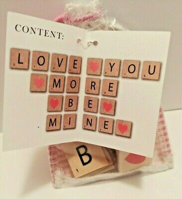 Wooden Letter Tiles  Decorative or Craft Use for Messages of Love 22 Count Pouch