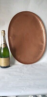 "A Very Large Oval Newlyn Copper Serving Tray 20"" X 14 1/4"" Inch."