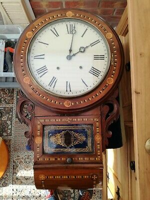 Antique Anglo american inlaid wall clock