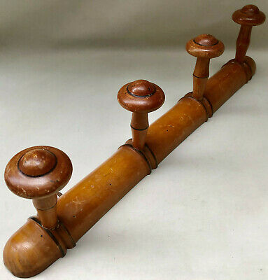 VINTAGE FRENCH 1940s WOODEN COAT OR HAT RACK WITH FOUR TURNED WOOD KNOB HOOKS