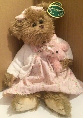 """Bearington Collection NWT 13"""" Brandy With Pink Baby Bear PINK DRESS WITH SWEATER"""