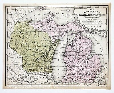 1852 Wisconsin Michigan Map Lake Superior Upper Peninsula Huron Green Bay EXRARE