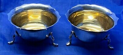 Pair Of Edwardian Solid Silver Salts With Gilt Bowls By George Unite B'ham 1903