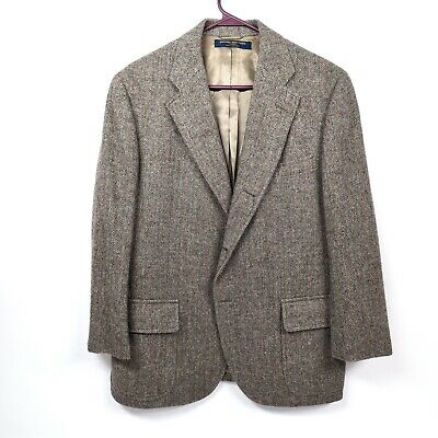 Brooks Brothers 346 Mens 42 Grey Wool Tweed Herringbone Jacket Blazer