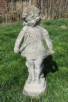 Vintage Stone Concrete Shy Little Girl Garden Statue Naturally Weathered