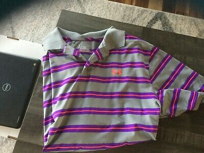 UNDER ARMOUR Heat Gear Loose Gray, Purple & Pink Striped- Polo-XL