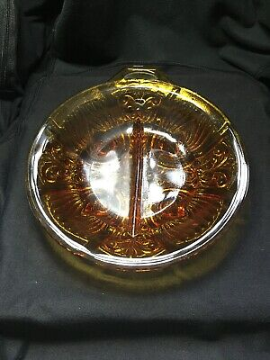 Vintage Antique Glass Amber Separated Candy Dish Le Fleur Raised Depression