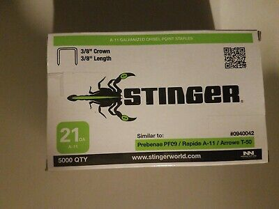 "Stinger 940042 Staples 3/8"" Crown, 21GA, A-11 (5000 ct)"