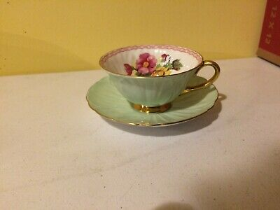 Shelley Fine Bone China England  Oleander Lime Green Floral's Gold Teacup Saucer
