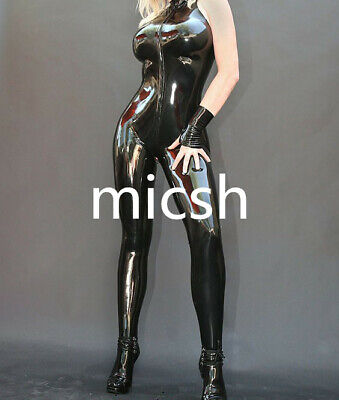 Latex Rubber Catsuit Sleeveless Black Cool Bodysuit Fixed Size XXL