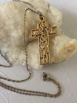 Vintage Gold Tone Cross Stamped . God Loves You & So Do I. Silver Chain