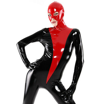 Latex Rubber Catsuit Sleeveless Black Cool Sport Cosplay Bodysuit S-XXL 0.4mm