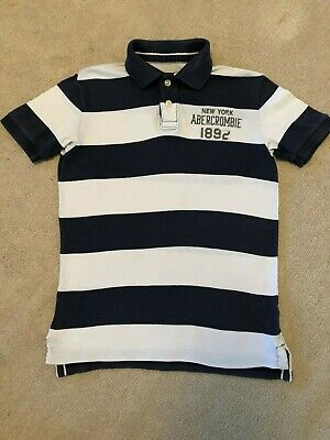 Abercrombie Blue and White Stripped T-Shirt - Kids Medium