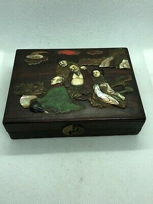 Stunning antique chinese cantonese wooden & mother of pearl ornate box 19th Qing