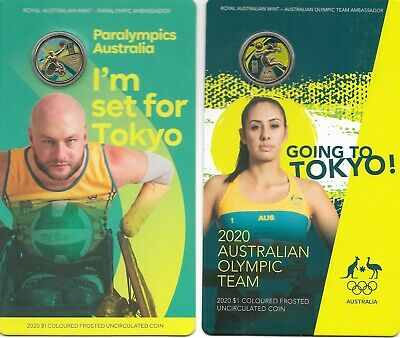 2020 Pair $1 Australian Olympic And Paralympics Coloured Uncirculated Coins (2)