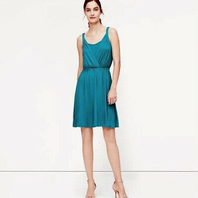 NEW Ann Taylor LOFT Crossover Tank Dress Size XS Womens Teal Feather Shirred