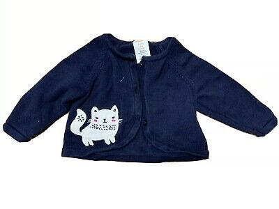 Gymboree Baby Girl Navy Blue Cardigan Cat Kitten Print Size 00