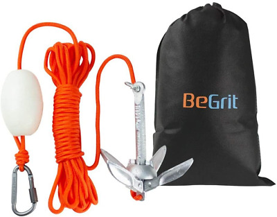 BeGrit Small Boat Anchor Kit Folding Grapnel Anchor Carbon Steel for Canoe Jet &