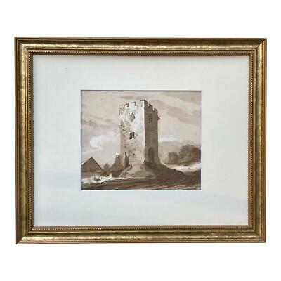 Antique Original French Watercolor Painting of Castle Ruins 19th Century