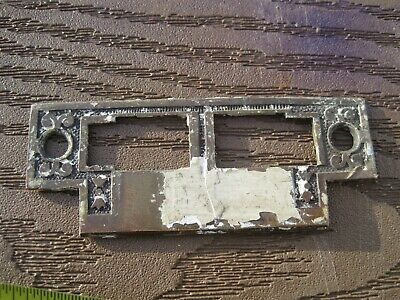 Antique 1800 S FLAT EASTLAKE BRASS DOOR LOCK STRIKER PLATE ESCUTCHEON 31/2 1 3/8
