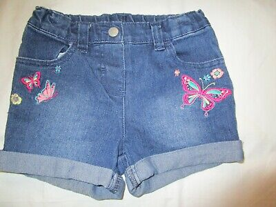 GIRLS denim H&T SHORTS with an adjustable waist   Size 6   butterfly embroidery