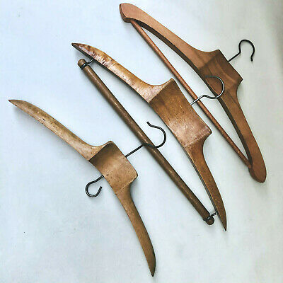 Vintage French 3 Wooden Assorted Gentlemens Clothing Hangers Fashion Styling