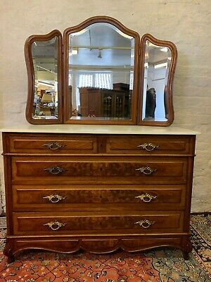 Fantastic Quality Antique French Mahogany Triple Mirror Marble Top Dressing Ches