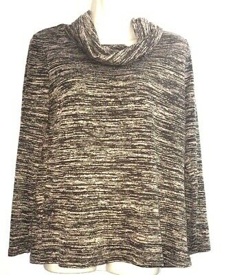 Womens Sz M (8/10 )Scoop Cowl Neck Top Brown Beige Blend Thin Faded Glory shirt