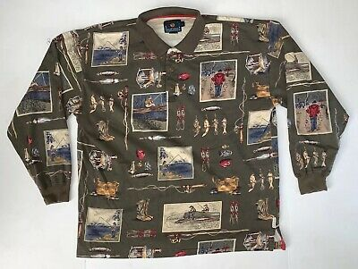 Vintage Chaps Ralph Lauren Mens Polo Shirt Size Large Long Sleeve All Over Print