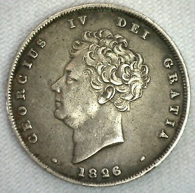 1826 Silver Shilling Great Britain UK English Coin XF Extra Fine