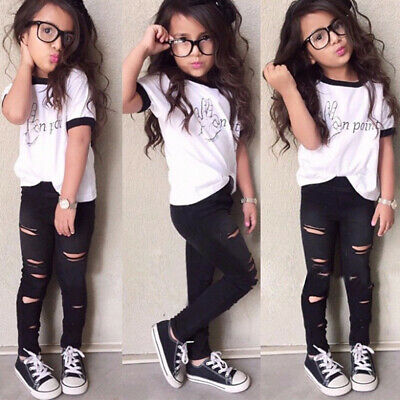Fashion Kids Toddler Baby Girls T-shirt Tops Distressed Pants Outfits Sets 2Pcs