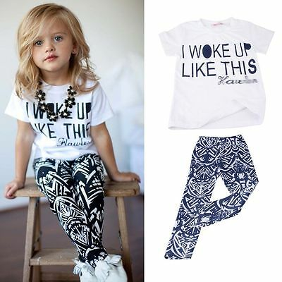 2Pcs Toddler Kids Baby Girls Letter Print T-shirt Top + Long Pant Outfits Sets