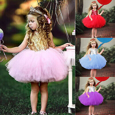 Toddler Baby Girls Sequin Princess Dress Kids Pageant Party Wedding Tutu Dresses