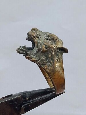 Excellent Rare Post Medieval Wonderful Tiger Or Lion Silver Ring