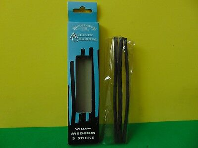 3 New Winsor Newton Artists' Charcoal Willow Medium Sticks Made in England