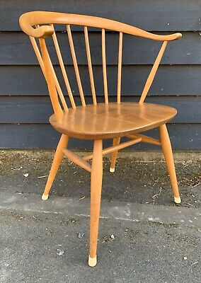 Vintage 1950's Ercol Blonde Cowhorn Chair * 3 Available *