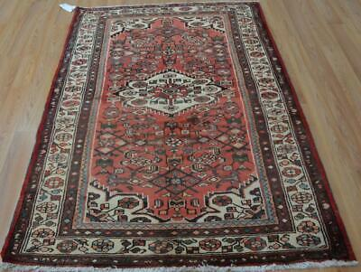 3'9 x 5'6 Semi Antique Hamadan Hand Knotted Wool Area Rug 4 x 6 Oriental Carpet