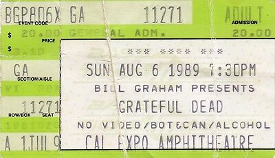 Grateful Dead Ticket Stub  08-06-1989   Cal Expo Amphitheatre